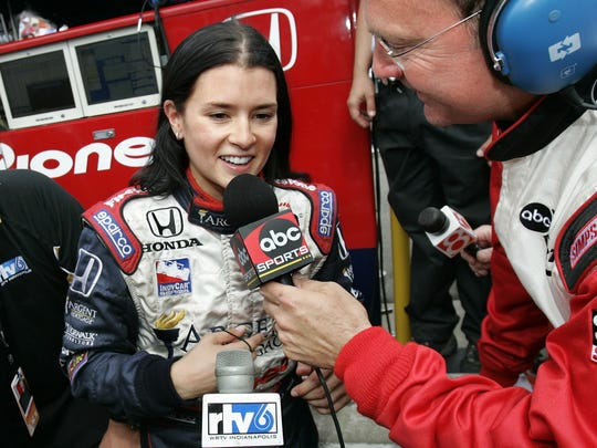 Danica Patrick is interviewed about her fourth place finish in her first Indianapolis 500, in 2005. She became the first woman to take the lead in the race. She would go on to finish third in the 2009 Indy 500.