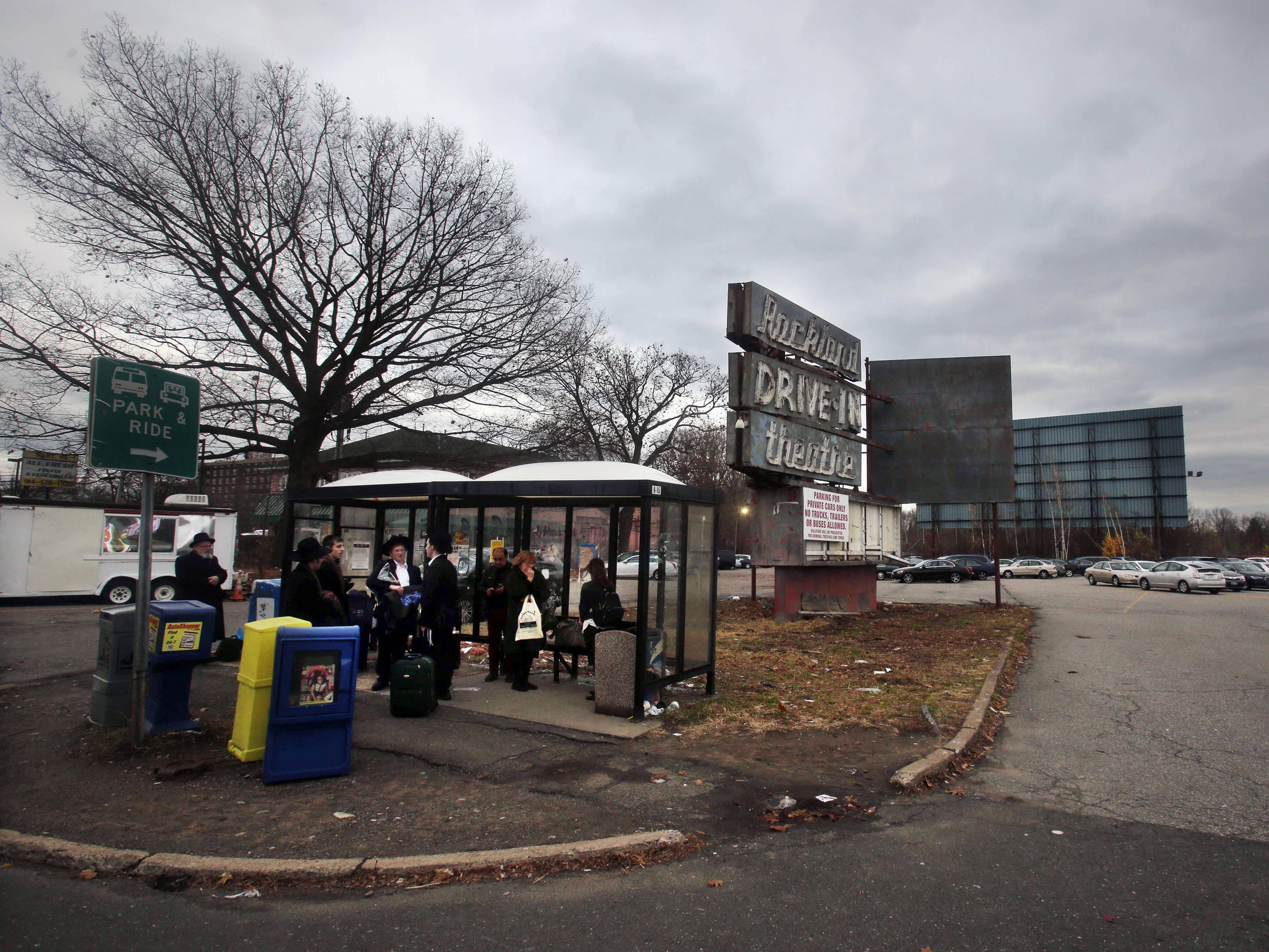 A bus stop in front of the old Rockland drive-in theater