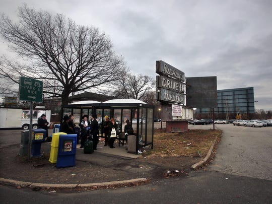 A bus stop in front of the old Rockland drive-in theater on Route 59 in Ramapo, proposed site of the large Town Square Residences development.