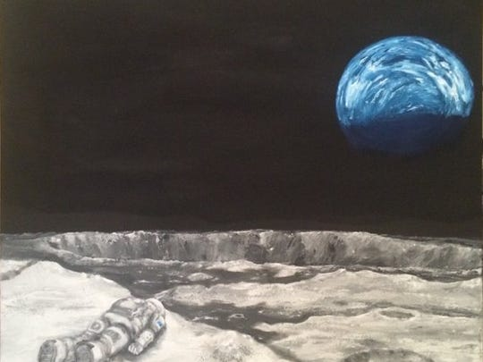 """""""Aristotle Disconnect"""" depicts an Astronaut lying face"""