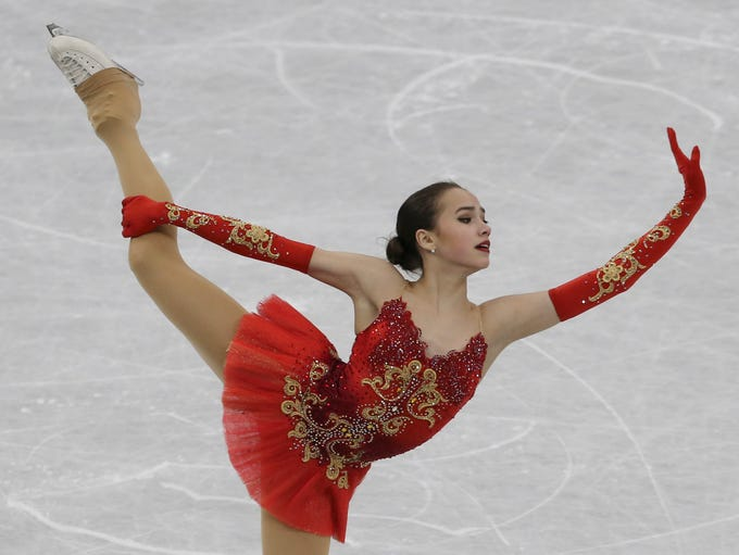 Alina Zagitova of Russia performs during the women's