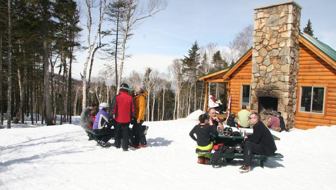 The Mount Stickney area offers 30 acres of backcountry terrain accessed by a T-bar with a cabin up top that serves drinks and snacks.