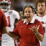 Alabama head coach Nick Saban reacts to a call during a Crimson Tide game.