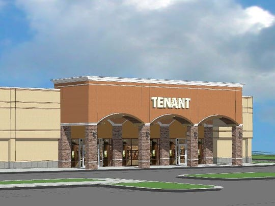 This rendering shows the proposed 75,000-square-foot expansion at Asheville Outlets on Brevard Road. Adams + Associates Architecture prepared the plans for New England Development, steward of the outlets.