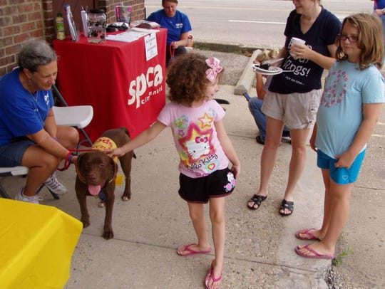 Families met adoptable dogs at an adopt-a-pet event