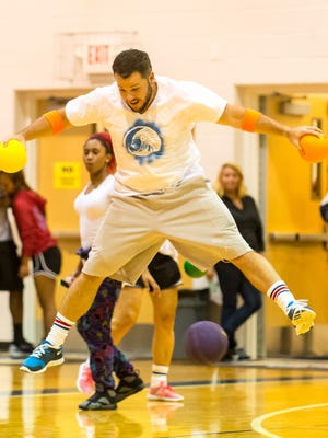 Pocomoke High students and teachers take part in a school-wide dodgeball tournament as part of homecoming week on Thursday evening.