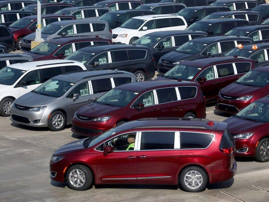 2017 Chrysler Pacificas are just off  the assembly line at the FCA Windsor Assembly Plant in Windsor, Ontario in May 2016.