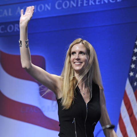 In this Feb. 12, 2011, photo, Ann Coulter waves...