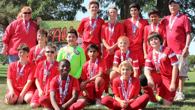 The members of the Farmington United team are (front row, from left) Daniel Gree and Dominic Kendrick; (second row, from left) Malachi Mealoy, Luke Skaff, Waris Khan, (third row) Aidan Burd Kuhl, Kyle Braska, Andrew Lochrie and Nate Stang; and (back row, from left) coach Laura Litfin, Dylan McCracken, Clay Emeigh, Santiago Uribe Guiza, Arya Thakur and coach Don McDougall.
