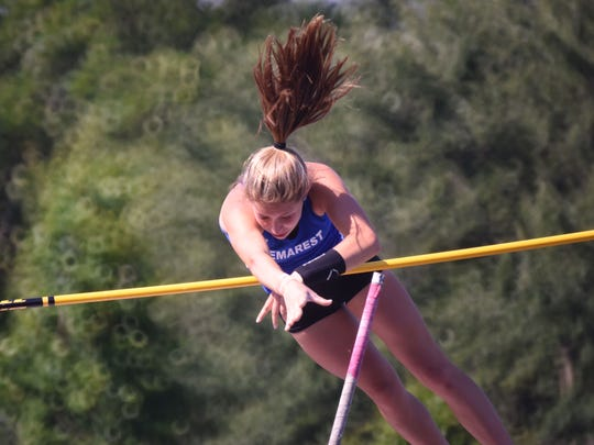 Michelle Rubinetti, of NV/Demarest, competing in the pole vault on Saturday, June 10, 2017 during the  State Meet of Champions for track and field. She took second place.