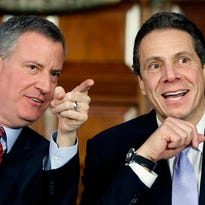 New York Mayor Bill de Blasio, left, and Gov. Andrew Cuomo during a Jan. 27, 2014, news conference in the Red Room at the Capitol.