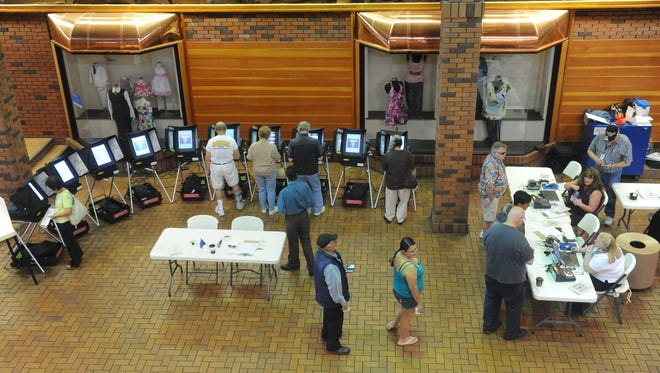 People line up to cast their votes right after the polls opened at Reno Town Mall last month.
