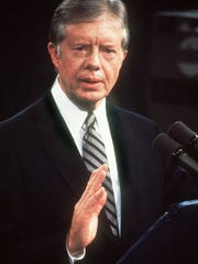 Photo taken 13 February 1980 in Washington of President Jimmy Carter speaking at nationally televised Press Conference.