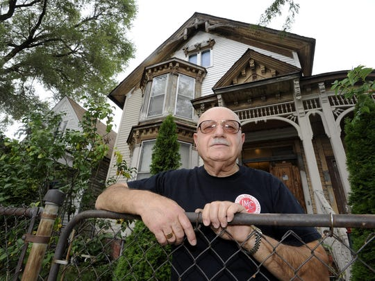 Eleno Sammut, 67, lives across from the polluted site of his former workplace, Lincoln Brass Works, in Detroit.