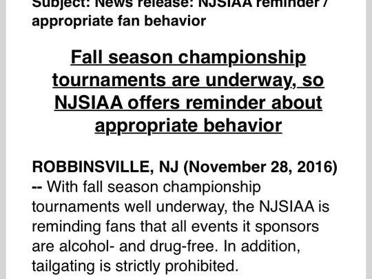 Excerpt from NJSIAA press release