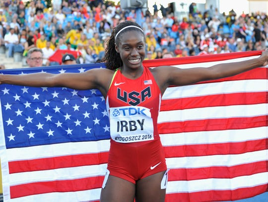Lynna Irby from USA celebrates winning silver medal