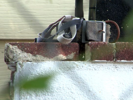 A dog collar is shown near the kennels Wednesday, June
