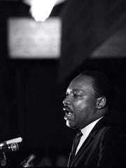 In this April 3, 1968, file photo, Rev. Martin Luther