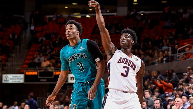 Auburn freshman forward Danjel Purifoy after shooting a 3-point show. Purifoy led all scorers with 27 points in a 117-72 victory over Coastal Carolina on Dec. 15.