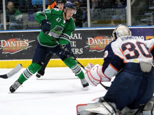 Logan Roe gets a look at goal during the Florida Everblades