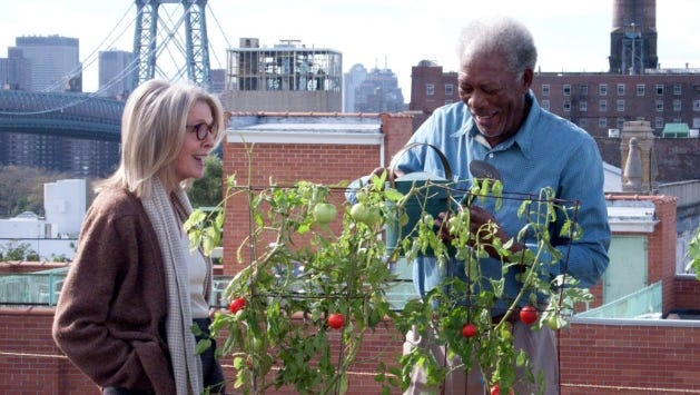"Ruth (Diane Keaton) and Alex (Morgan Freeman) have lived in their Brooklyn apartment building for 40 years, but the sale price might be too good to ignore, in ""5 Flights Up."""