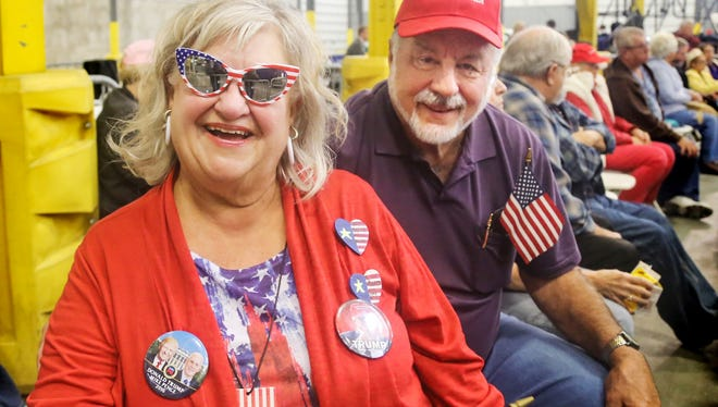 Sandy and Gene Riebling, of East Berlin show off their Pence and Trump attire ahead of Mike Pence's campaign stop at Penn Waste Inc., Thursday, Sept. 29, 2016, in Manchester Township. Amanda J. Cain photo