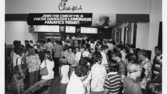 The original opening of the Chick-fil-A location in Eastdale Mall in in 1977 was the largest event of its kind for the company at that time.
