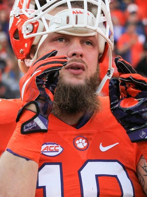 Clemson linebacker Ben Boulware shows his emotion as he lines up with others during Senior Day festivities before kickoff against Pittsburgh on Nov. 12 at Memorial Stadium.