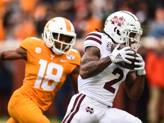 Oct 12, 2019; Knoxville, TN, USA; Mississippi State Bulldogs wide receiver Deddrick Thomas (2) catches a pass for a touchdown in the fourth quarter of a game against the Tennessee Volunteers at Neyland Stadium. Mandatory Credit: Bryan Lynn-USA TODAY Sports