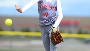 Conrad-Choteau's Tristin Achenbach pitches during the State B-C title game against Huntley Project Saturday in Kalispell.