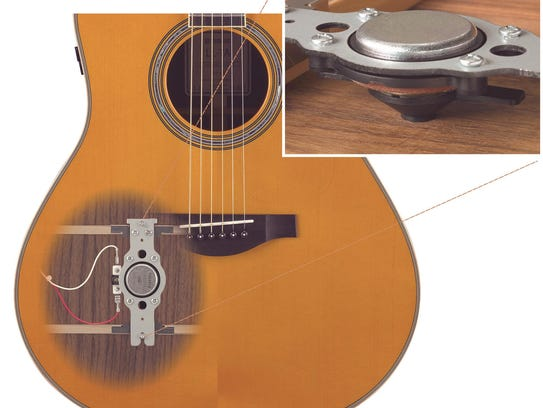 The Yamaha TransAcoustic guitar with inside actuator