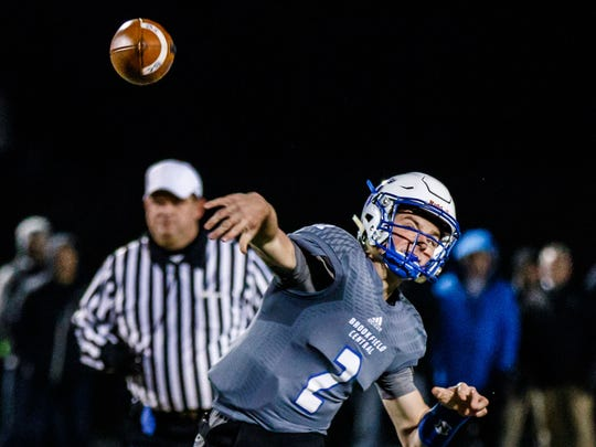 Brookfield Central quarterback Drew Leszczynski (2) delivers a pass during the Level 4 Division 2 playoff game against Waukesha West at Oconomowoc on Friday, Nov. 10, 2017.