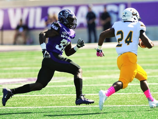 ACU's Bolu Onifade, left, chases Southeastern Louisiana running back Darren Johnson during their Southland Conference game in October.