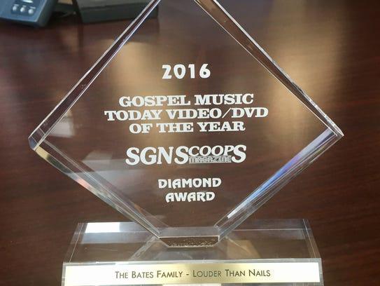 The Gospel Music Today Video of the Year Diamond Award.