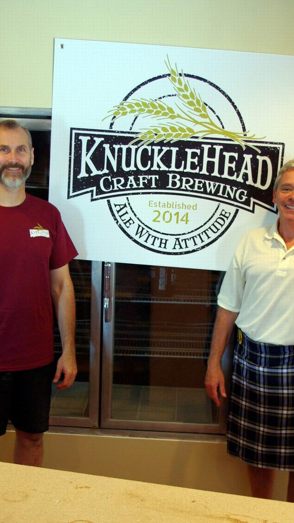 Owners George Cline and Len Dummer. Expect to see Len in his kilt a lot when the brewery opens. (Photo: M. Rosenberry)