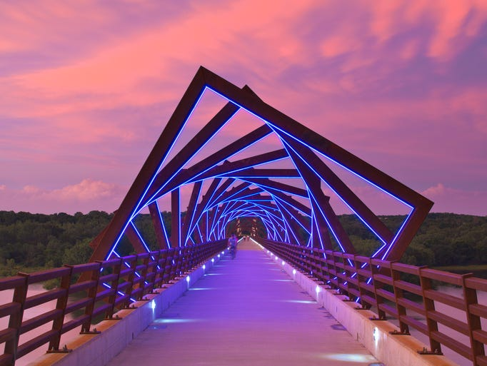 The popular lighted sculpture on the High Trestle Trail