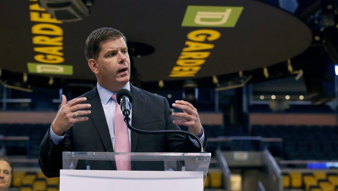 Boston Mayor Marty Walsh speaks at a news conference June 18, 2015, in Boston, where it was announced that TD Garden would be the site of the Olympic and Paralympic basketball finals and Olympic gymnastics and trampoline if the city wins a bid to host the 2024 games.