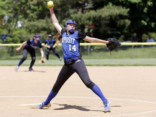 Makenzie Stiles of Deposit delivers a pitch to an Edmeston batter during Saturday's Section 4 Class D title game at BAGSAI Complex.