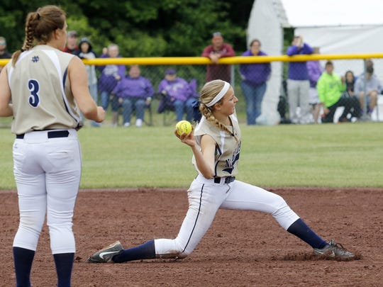 Notre Dame second baseman Maura Glovins makes a play on a ground ball as pitcher Izzy Milazzo looks on.