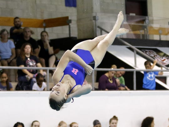 Chloe Peterson of Horseheads competes in diving her sophomore season at Horseheads.