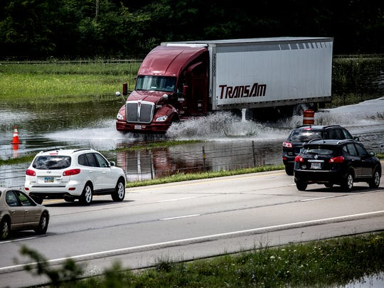 I-70 was shut down at the OH 79 exit Friday due to flooding from the previous day's rain.