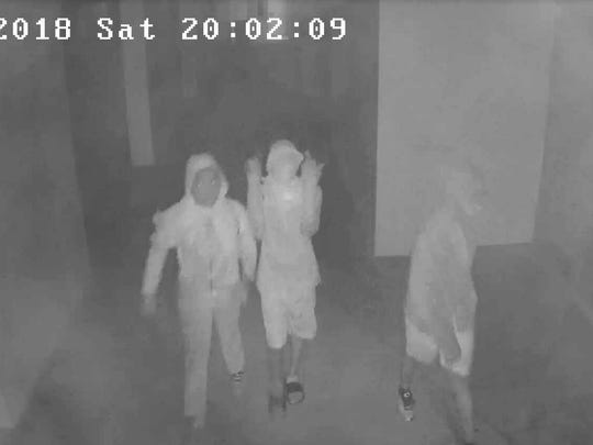 Surveillance photos of three juveniles suspected of burglarizing and vandalizing Endeavor Elementary Magnet School.