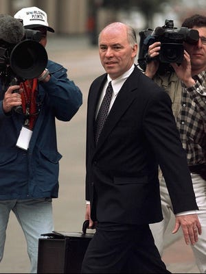 U.S. Attorney Larry Mackey arrives at the federal courthouse in Denver Thursday May 29 1997 where he delivered the closing arguments for the prosecution at the trial of Oklahoma City bombing suspect Timothy McVeigh. (AP Photo/Michael Caulfield)