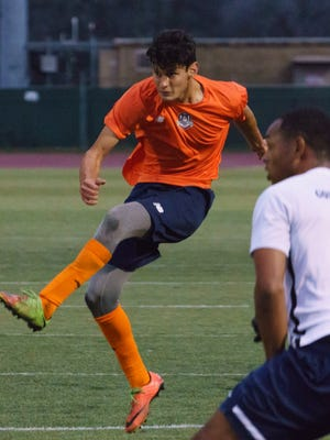 Former Alisal defender Enrique Montano (orange) recently signed with the Tulsa Roughnecks of the United Soccer League. He made his debut Tuesday in a preseason game against Oral Roberts University and scored a goal.