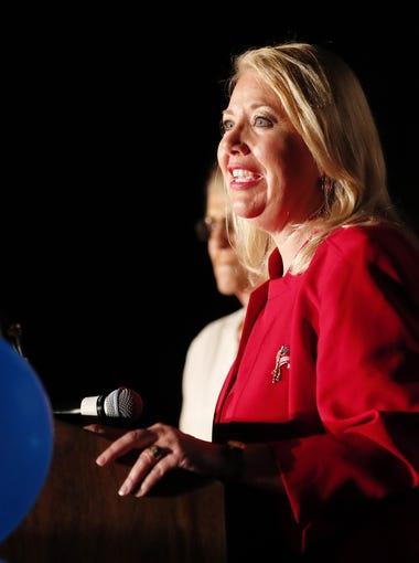 Republican congressional candidate Debbie Lesko speaks to supporters during an election night party in Peoria, Ariz. April 24, 2018. Lesko won a special election against Democrat Hiral Tipirneni for the 8th Congressional District seat vacated by disgraced former Rep. Trent Franks.