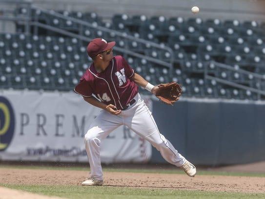 Mason City Newman junior third baseman Justin Fausnaugh