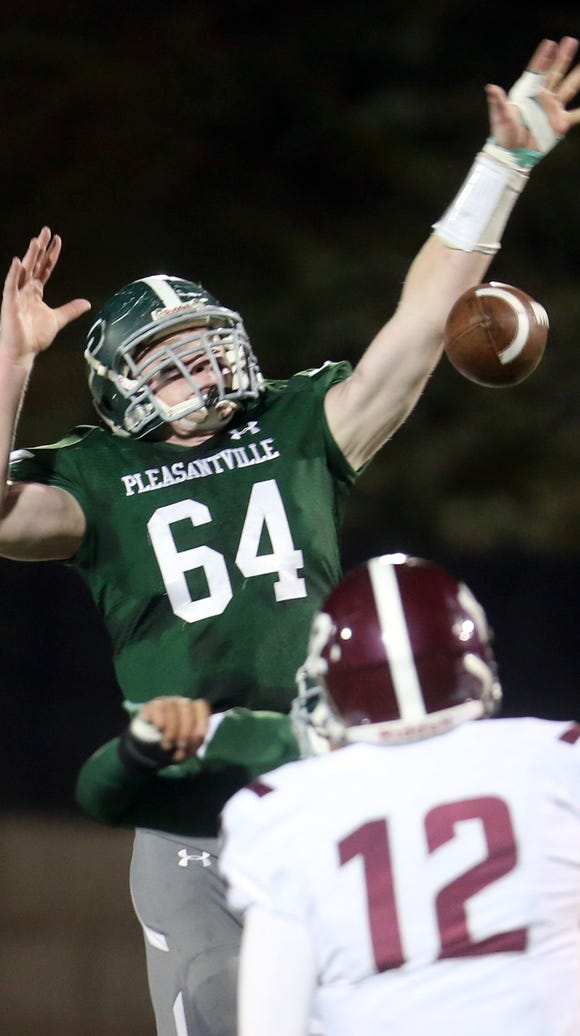 Pleasantville's Tim Driscoll knocks down a pass by