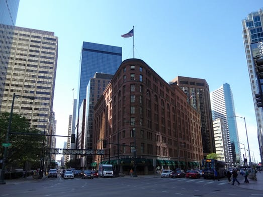 The Brown Palace Hotel and Spa sits on a triangular