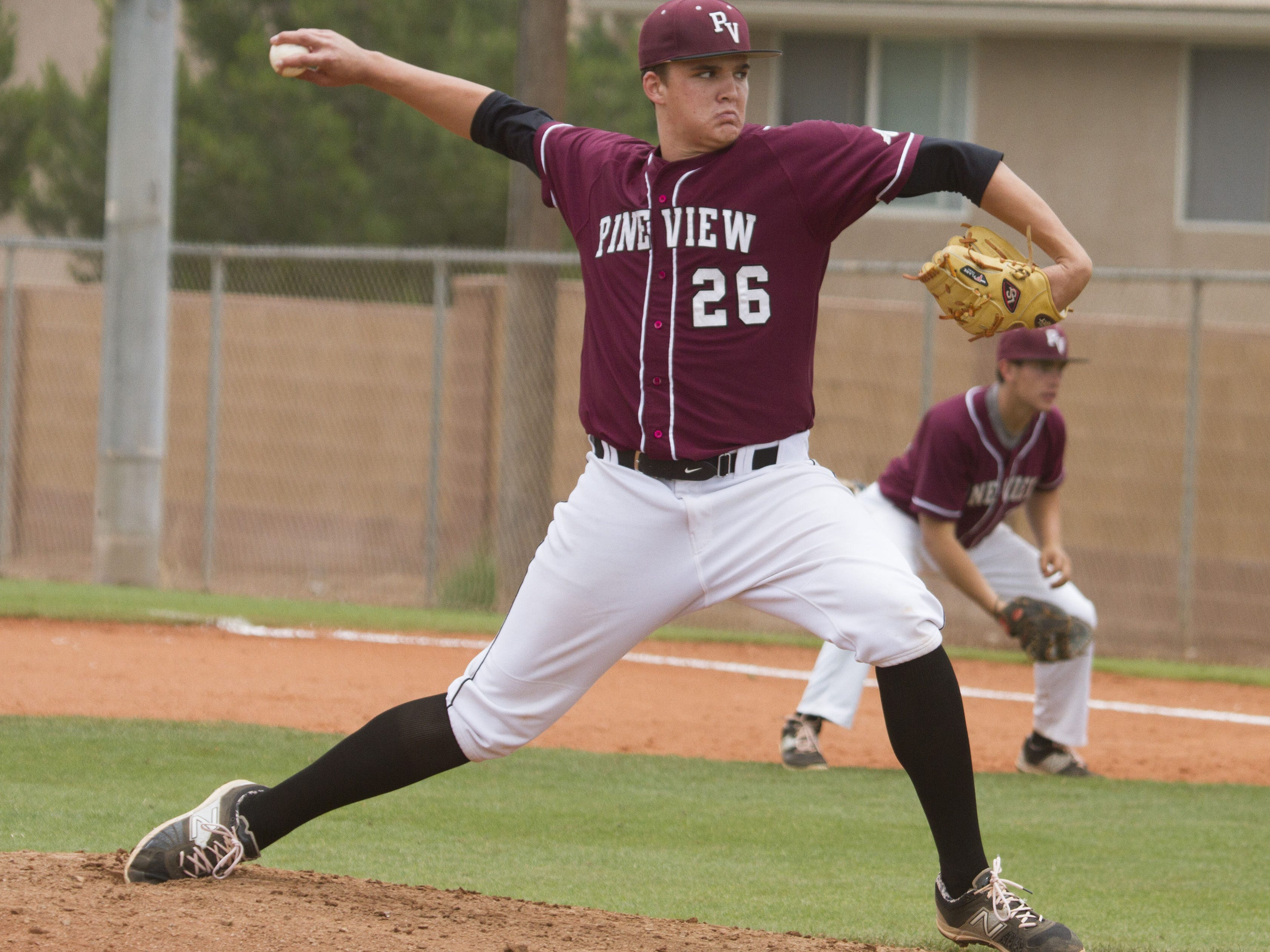 Pine View pitcher Harrison Goebel throws against Union at Pine View High School on Saturday.