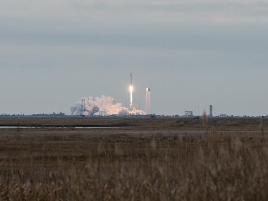 A view of the Antares rocket launch on Sunday, Nov.